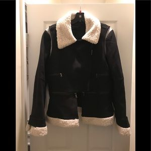 NWT BCBGMaxAzria Wool Blend Sherpa Moto Jacket